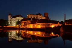 Slott och Chateau Jindrichuv Hradec Arkivbilder