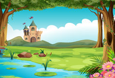 Slott och damm stock illustrationer
