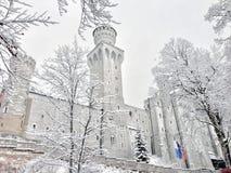 Slott och snö Arkivbilder