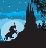 Slott och Unicorn Royaltyfri Foto