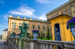 Slott oriental de Stockholms da fachada de Royal Palace, Éstocolmo, Suécia imagens de stock royalty free