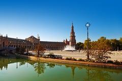 Slott på den spanska fyrkanten i Sevilla Spanien Royaltyfria Bilder