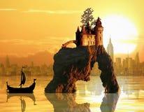 Slott på havsbunt Arkivbild
