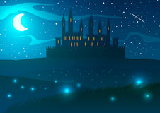 Slott på kullarna på natten Fotografering för Bildbyråer