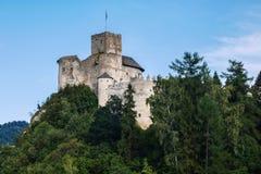 Slott på kullen ovanför sjön royaltyfri fotografi