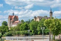 Slott Seeburg med strand av Seeburg i central Tyskland royaltyfria foton