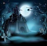 slott spöklika halloween royaltyfri illustrationer