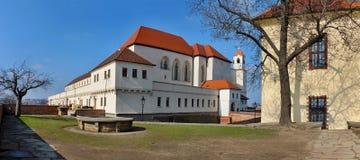 Slott Spilberk i staden Brno Arkivbild