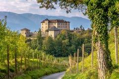 Slott Thun, Trentino Alt-Adige Slotten lokaliseras i kommunen av tonen i den lägre Val di Non, Trentino Alto Adige, Italien royaltyfri bild