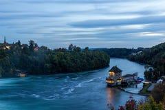 Slott Woerth, Rhine Falls, Schweiz arkivbild