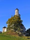 Slott Zamek Bobolice i Polen royaltyfri foto