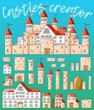 Slottar för skapare för vektortecknad film gulliga Uppsättning av arkitektur stock illustrationer