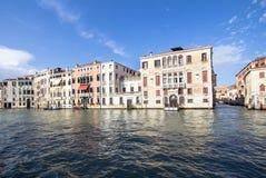 Slottar längs Grand Canal, Venedig, Italien Fotografering för Bildbyråer