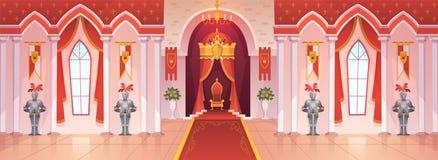 Slottbalsal Modig tecknad film f?r inre medeltida f?r kunglig slott f?r biskopsstol kunglig f?r ceremoni f?r rum f?r korridor fan vektor illustrationer