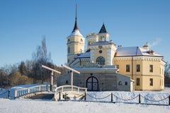 SlottBip solig Februari dag Omgivningen av St Petersburg Arkivfoton