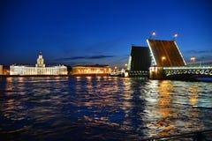 Slottbro och floden Neva Royaltyfri Bild