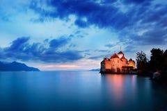slottchillon switzerland Montreaux sjö Geneve, en av den mest besökte slotten i schweizare royaltyfria bilder