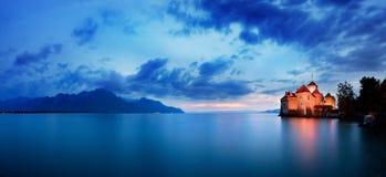 slottchillon switzerland Montreaux sjö Geneve, en av den mest besökte slotten i schweizare royaltyfri foto