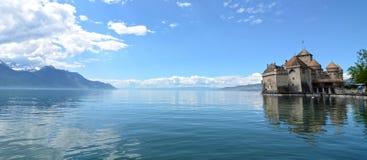 slottchillongeneva lake Royaltyfri Fotografi