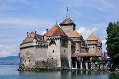 slottchillongeneva lake switzerland Arkivfoto