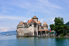 slottchillongeneva lake switzerland Arkivfoton