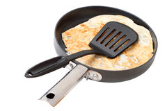 Slotted Spatula and pancake in the frying pan Royalty Free Stock Images