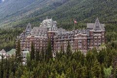 Slotten av Banff - det Fairmont vårhotellet Arkivfoto