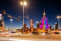 Slotten av kultur och vetenskap, Warsaw arkivbilder