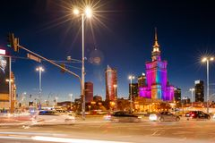 Slotten av kultur och vetenskap, Warsaw royaltyfria foton