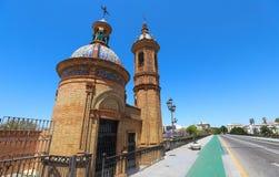 Slotten av San Jorge var en medeltida fästning som byggdes på den västra banken av den Guadalquivir floden i staden av Seville arkivfoto
