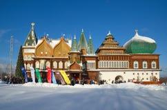 Slotten av tsar Alexei Mikhailovich i Kolomenskoye, Moskva, Ryssland fotografering för bildbyråer