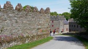 Slotten avvärjer i nordligt - Irland nära Belfast är en populär gränsmärke arkivfilmer