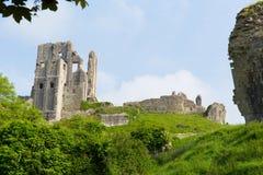 Slotten fördärvar Corfe Dorset England Purbeck kullar Fotografering för Bildbyråer