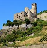 Slotten fördärvar på flodRhen Arkivbild