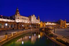 Slotten på spanjor kvadrerar i Sevilla Spanien Arkivfoto
