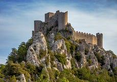 Slotten Puilaurens Arkivfoto