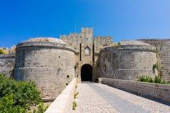 Slotten utfärda utegångsförbud för Rhodes Greece Arkivbilder