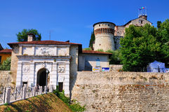 Slott av Brescia, Italien Royaltyfria Foton