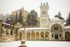 Udines Castel från piazzaen Libertà Arkivbilder