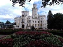 SlottHluboka gränsmärke i Tjeckien royaltyfri foto