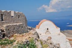 Slottkapell på Halki Royaltyfria Bilder