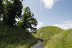 Slottkulle Thetford, Norfolk UK Royaltyfri Fotografi