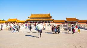 Slottmuseumplats-port av byggnader för Superme harmoni (den Taihe porten) Royaltyfri Bild