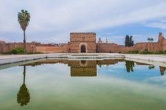 Slottpaviljong för El Badi på Marrakech, Marocko Royaltyfri Fotografi