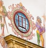 slottpelesromania sinaia Yttersida målad väggdetalj Royaltyfria Bilder