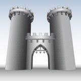 Slottport med två torn och himmel  Royaltyfria Bilder