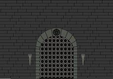 Slottport- och grå färgtegelstenvägg Royaltyfri Fotografi