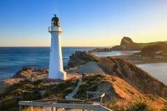 Slottpunkt, Nya Zeeland, solnedgång royaltyfria bilder