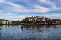 Slottsberget, Gothenburg, with beautiful old residential houses in the city. stock photos