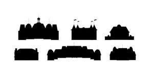 slottsilhouettesvektor royaltyfri illustrationer